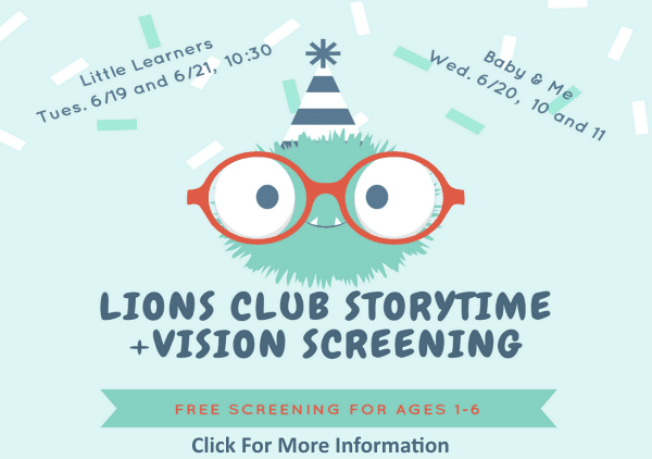 Lions Club Storytime Vision Screening June 19 20 21 2018 (Feature)
