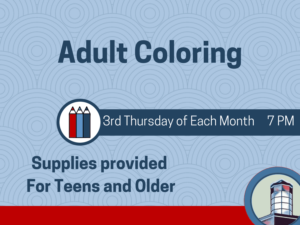 Adult Coloring 3rd Thursday of Each Month (Signage)