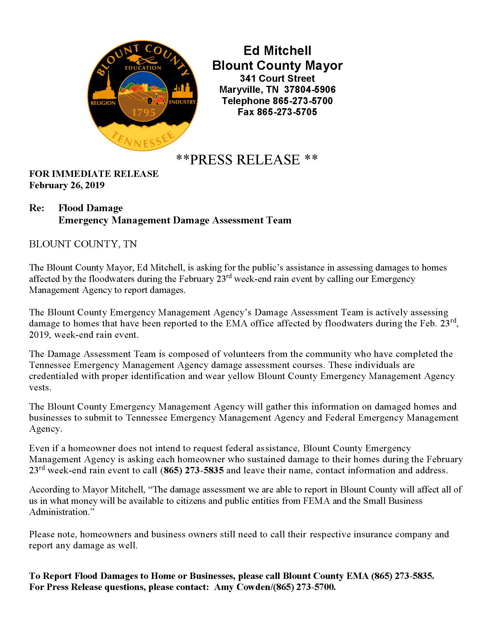 Press Release - Damage Assessment Team 2.26.19