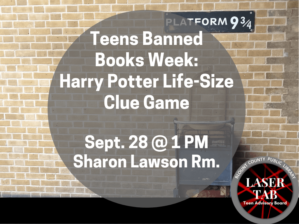Banned Books Week Harry Potter Clue Sept 28 2019 (Signage)