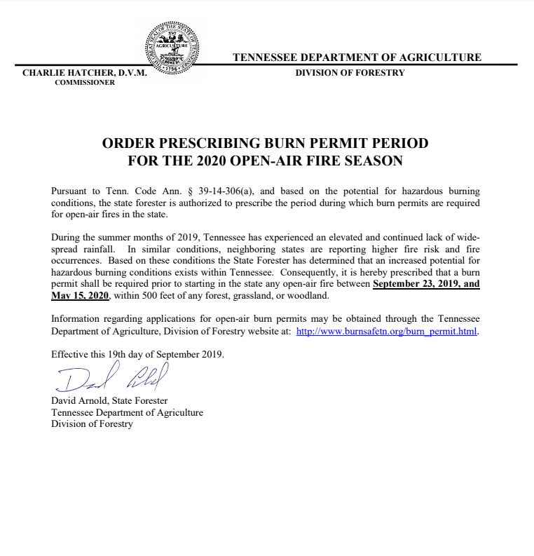 Order Prescribing Burn Permit Period 2019-20
