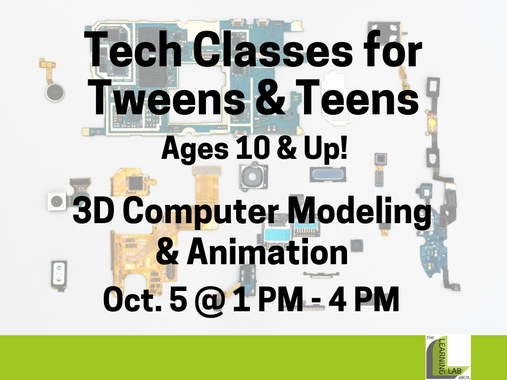 Tech Class 3D Computer Modeling Animation Oct 5 2019 (Signage)