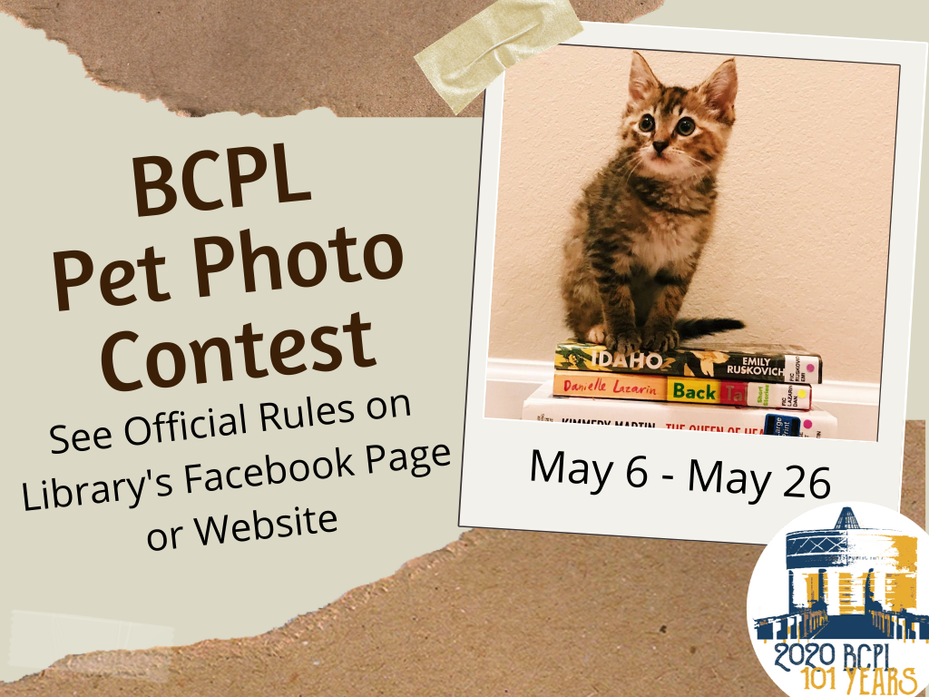 BCPL Pet Photo Contest May 6-26 2020 (Signage)