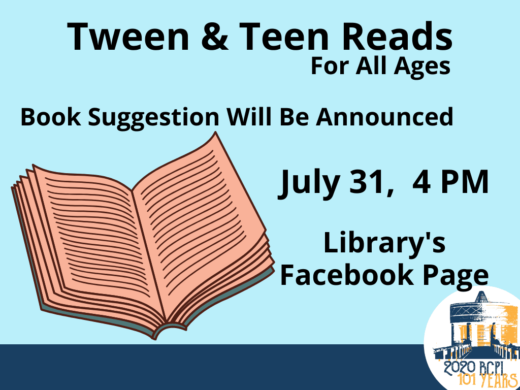 Tweens Teens Reads Juy 31 2020 (Signage)