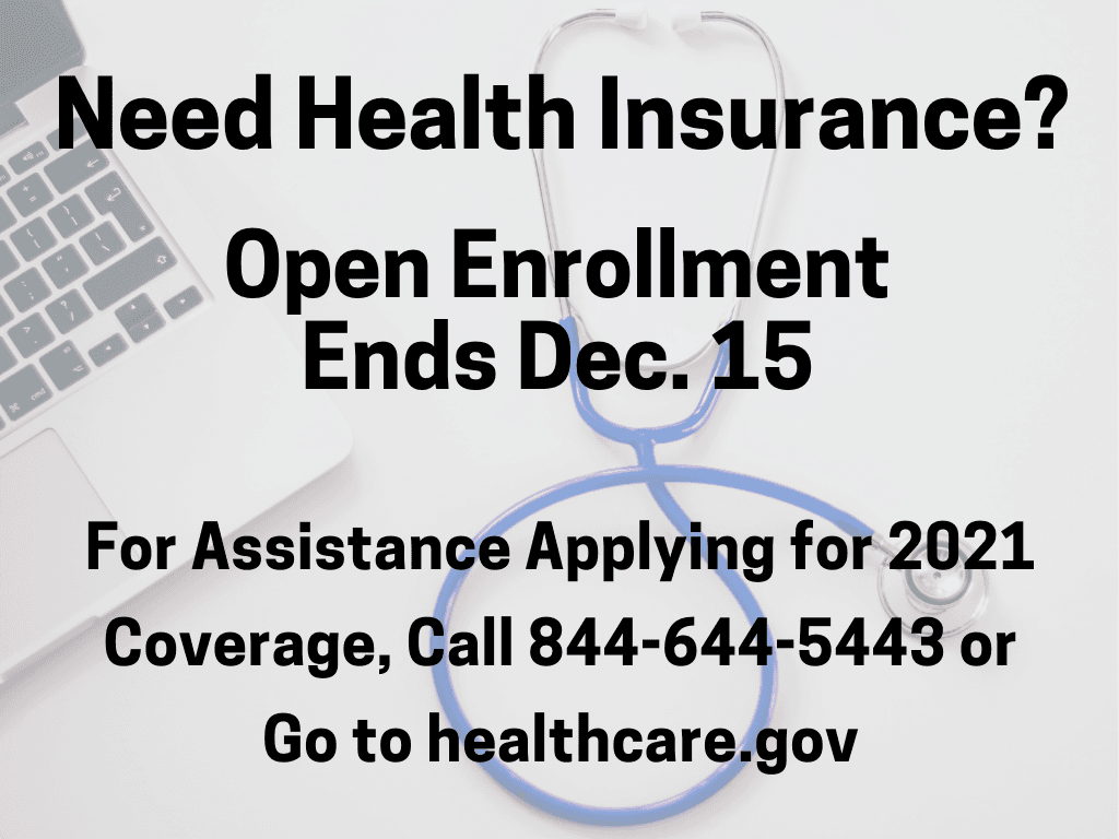 ACA Enrollment Assistance now to Dec 15 2020 (Signage)