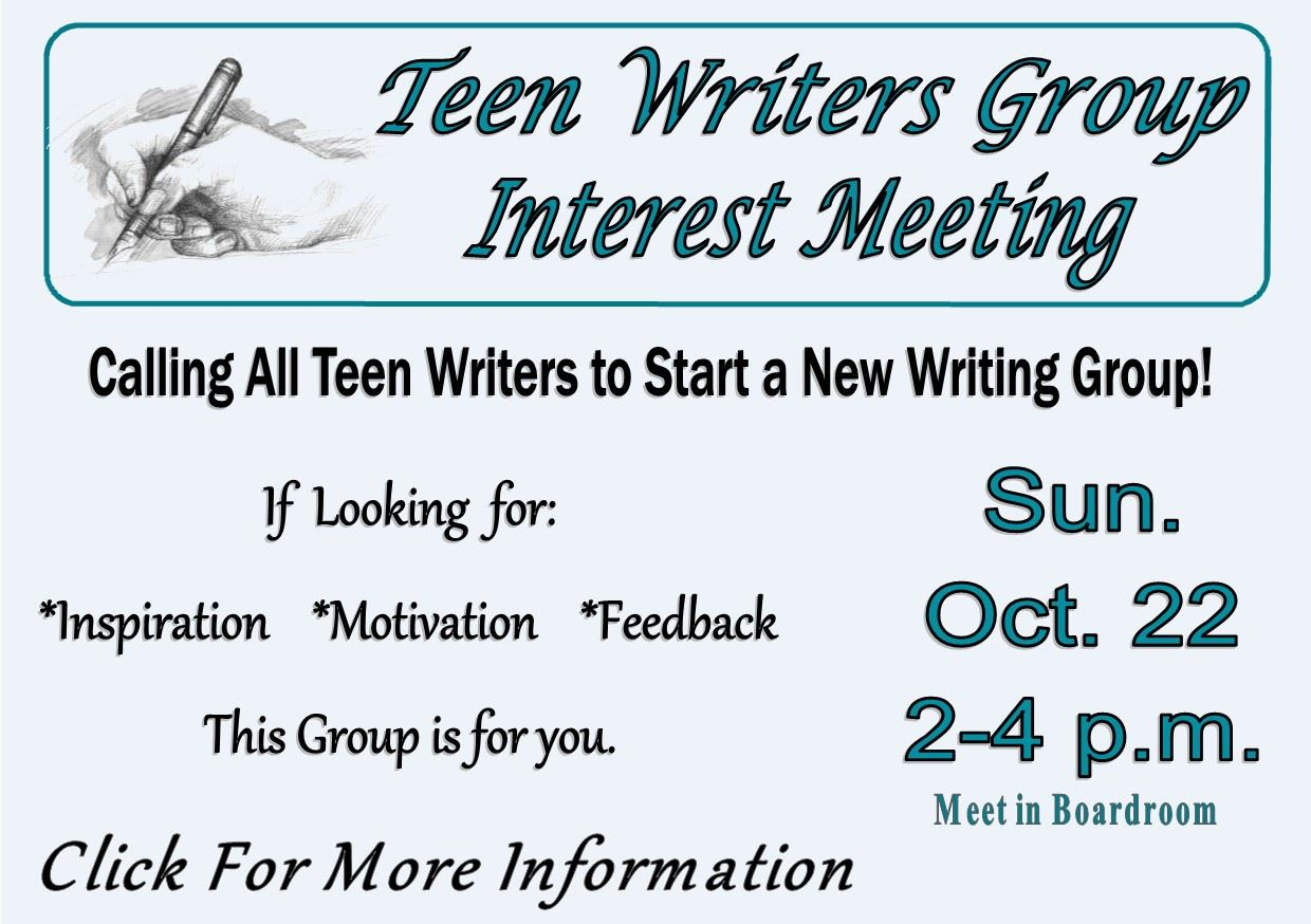 Teen Writers Group - Oct 22 2017 (Feature)