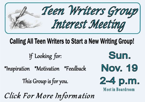 Teen Writers Group - Nov 19, 2017 (Feature)
