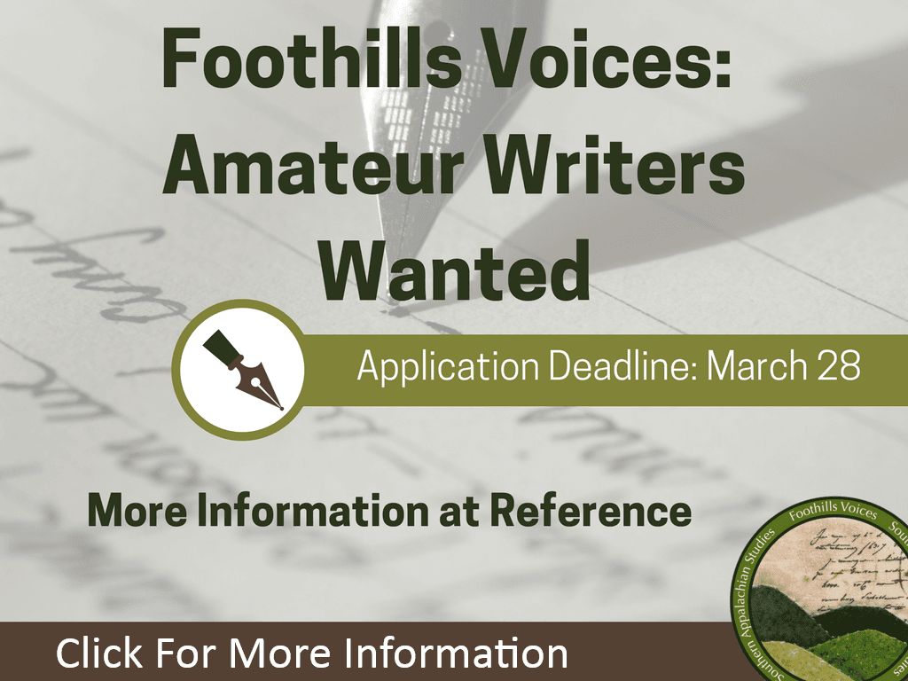 Foothills Voices Deadline March 28, 2018 (Feature)