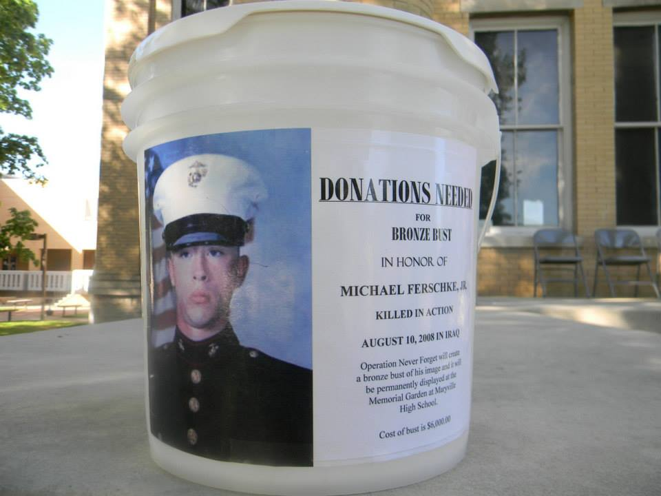 Image of collection bucket for bronze bust of Michael Freschke, Jr.
