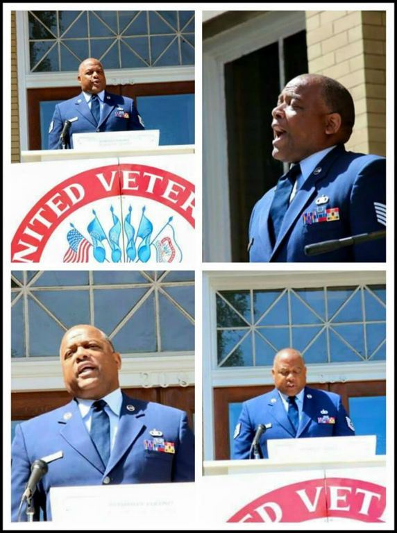 Man in blue suit, speaking at podium, collage of images