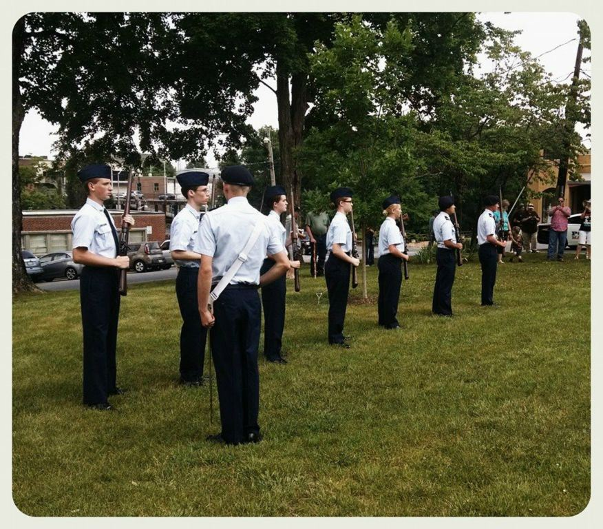 Cadets in a line with fireams
