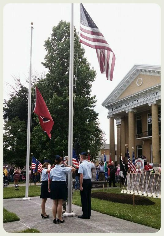 Cadets raising the flag