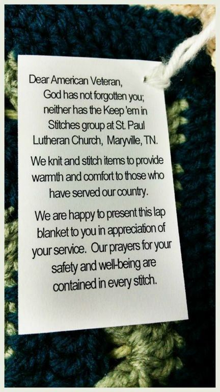 Text of tag attached to quilt: Dear American Veteran, God has not forgotten you; neither has the Keep 'em in Stitches ... Our prayers for your safety and well-being are contained in every stitch.