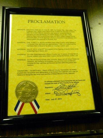 Image of yellow proclamation, framed in black