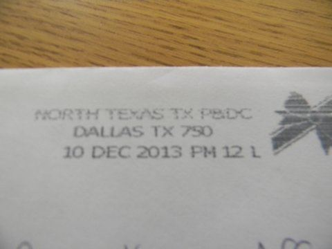 Image of postmark from Dallas, Texas, December 10, 2013