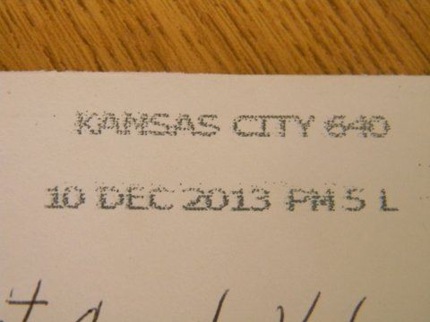 Image of postmark from Kansas City, December 10, 2013