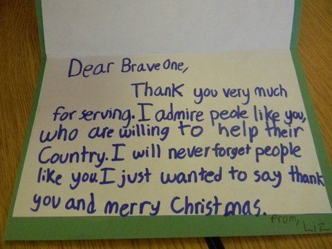 Image of interior of card, Dear Brave One, thank you for serving. Merry Christmas.