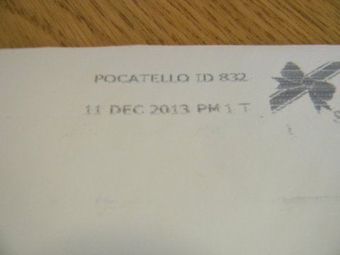Image of postmark from Indiana, December 11, 2013