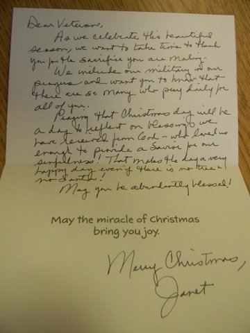 Image of interior of card from Janet, thanking veteran for service and wishing them Merry Christmas.