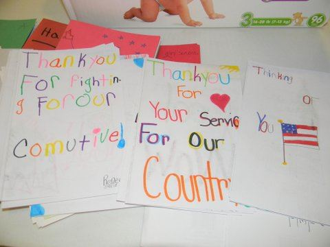 Image of pile of thank you cards, handwritting by children