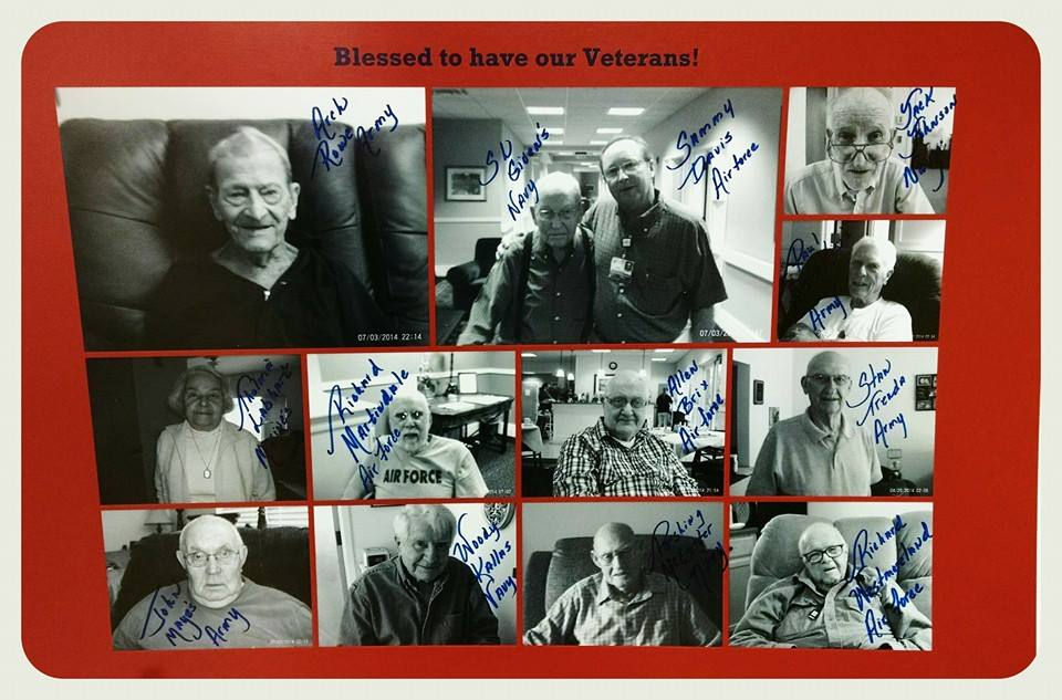 Image of collage of black and white pictures of veterans, with their signatures