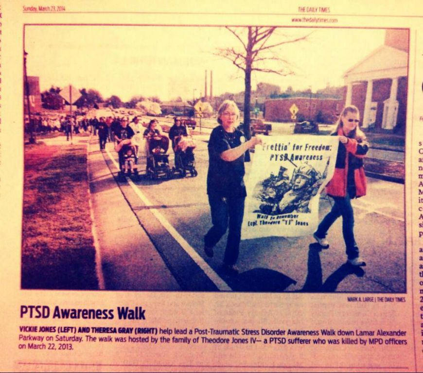 Image of newspaper clipping for PTSD Awareness Walk