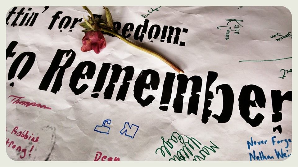 Poster: Frettin for Freedom, Walk to Remember, up close with signatures and flower