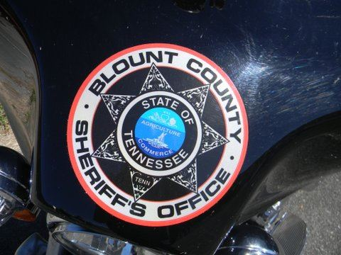 Up close image of Blount County Sheriff's Office sticker on motorcycle